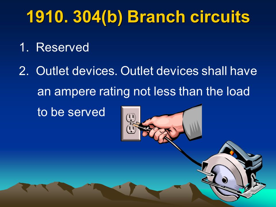 (b) Branch circuits 1. Reserved