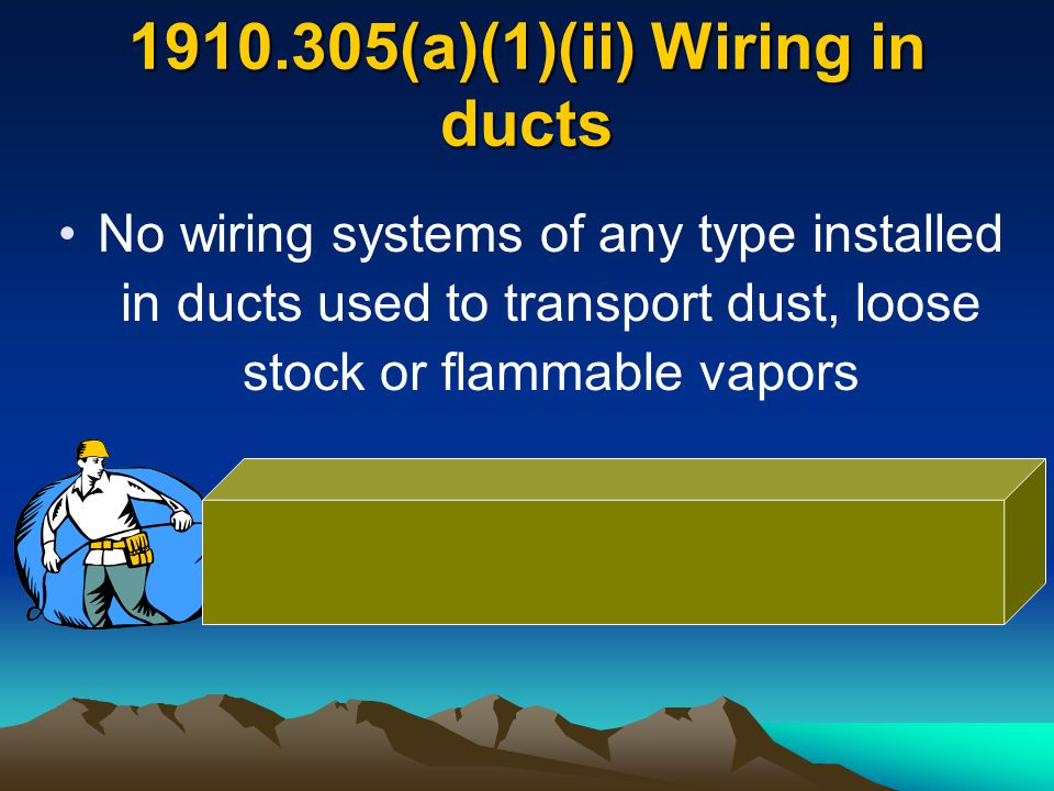 1910.305(a)(1)(ii) Wiring in ducts