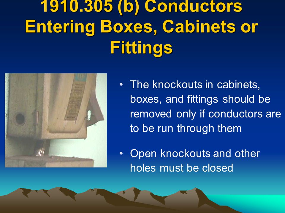 1910.305 (b) Conductors Entering Boxes, Cabinets or Fittings