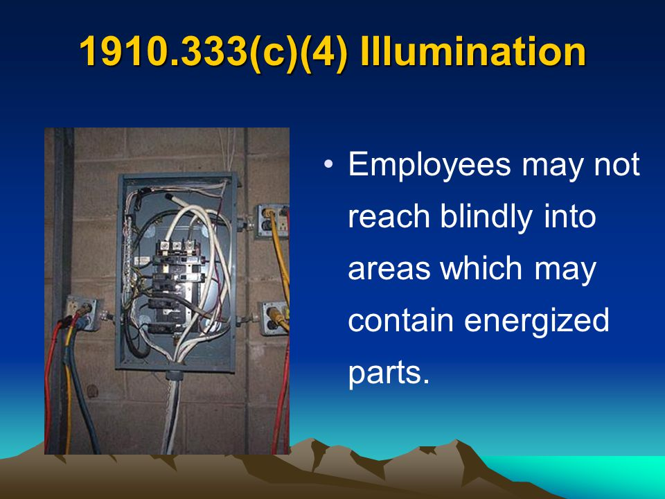 (c)(4) Illumination Employees may not reach blindly into areas which may contain energized parts.