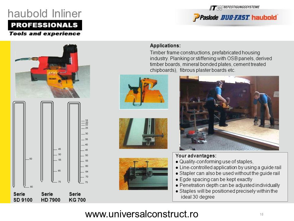 haubold Inliner www.universalconstruct.ro Applications: