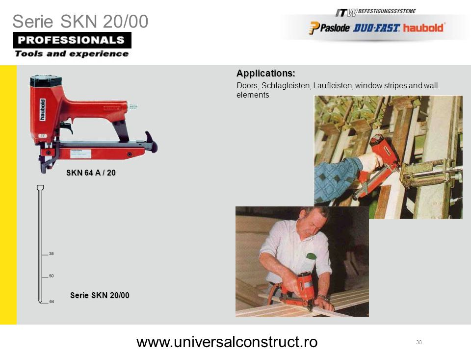 Serie SKN 20/00 www.universalconstruct.ro Applications: