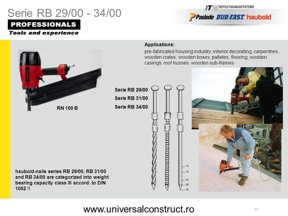 Serie RB 29/00 - 34/00 www.universalconstruct.ro Applications: