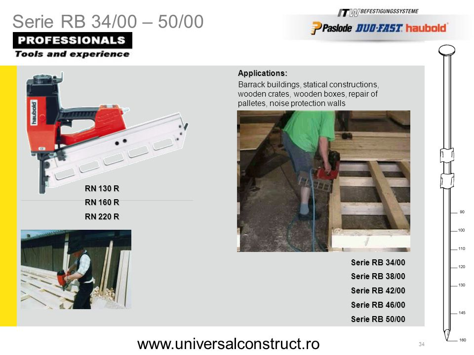 Serie RB 34/00 – 50/00 www.universalconstruct.ro Applications: