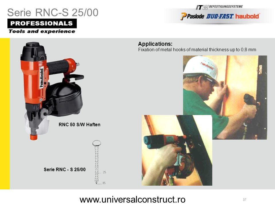 Serie RNC-S 25/00 www.universalconstruct.ro Applications: