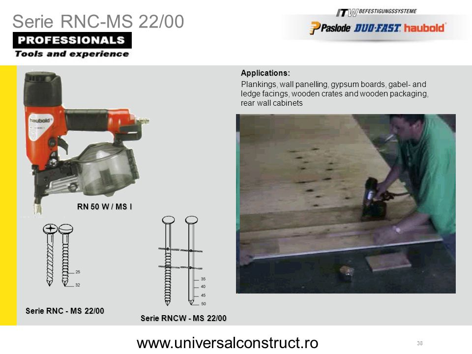 Serie RNC-MS 22/00 www.universalconstruct.ro Applications: