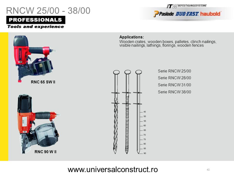 RNCW 25/00 - 38/00 www.universalconstruct.ro Applications: