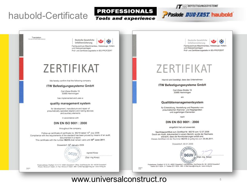 haubold-Certificate www.universalconstruct.ro