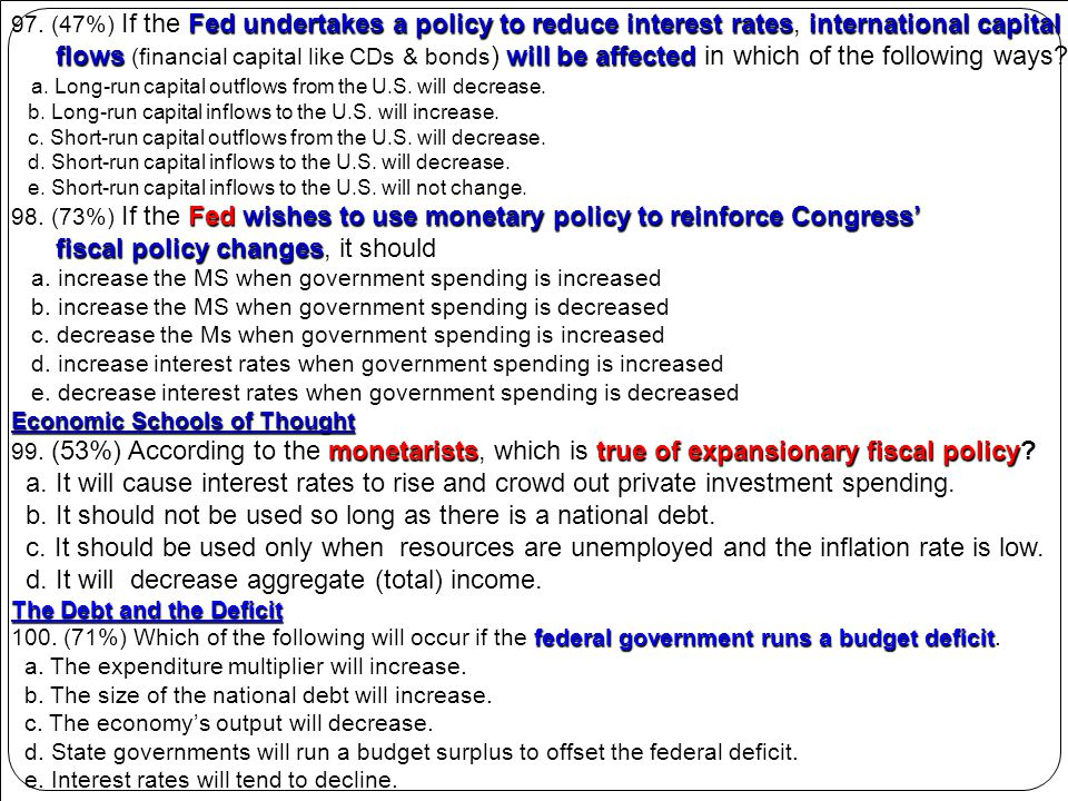 fiscal policy changes, it should