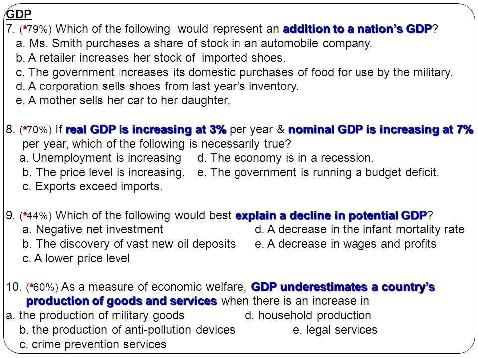 GDP 7. (*79%) Which of the following would represent an addition to a nation's GDP