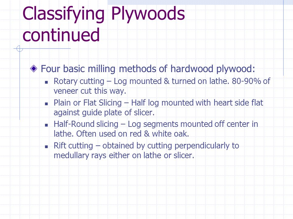 Classifying Plywoods continued