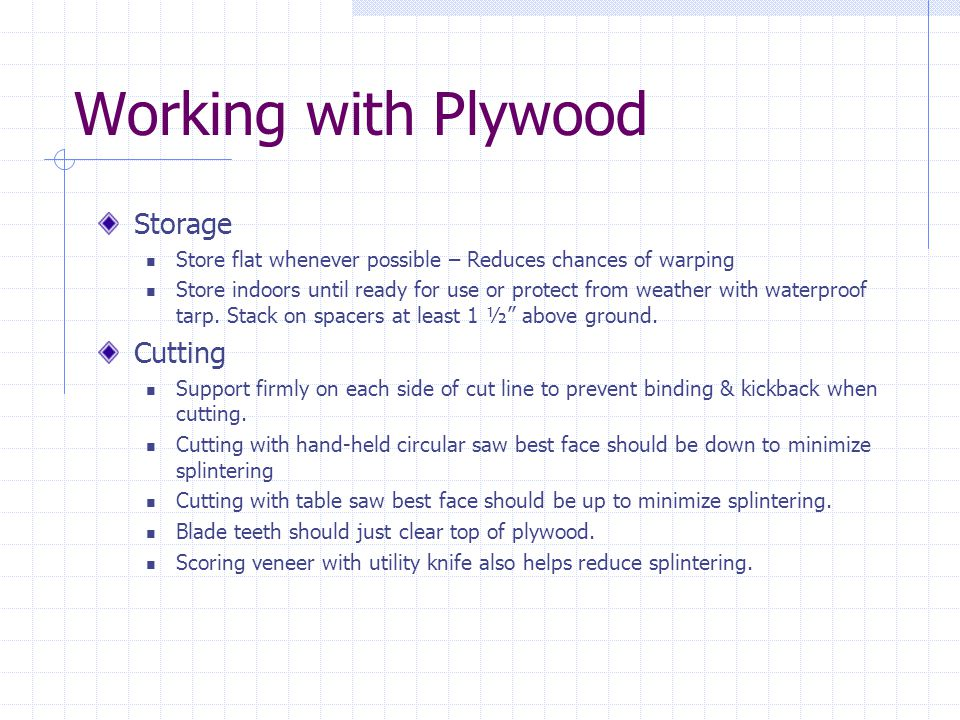 Working with Plywood Storage Cutting