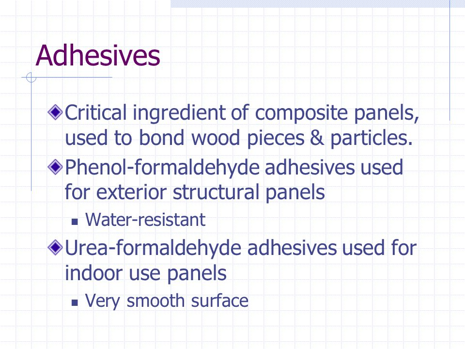 Adhesives Critical ingredient of composite panels, used to bond wood pieces & particles.