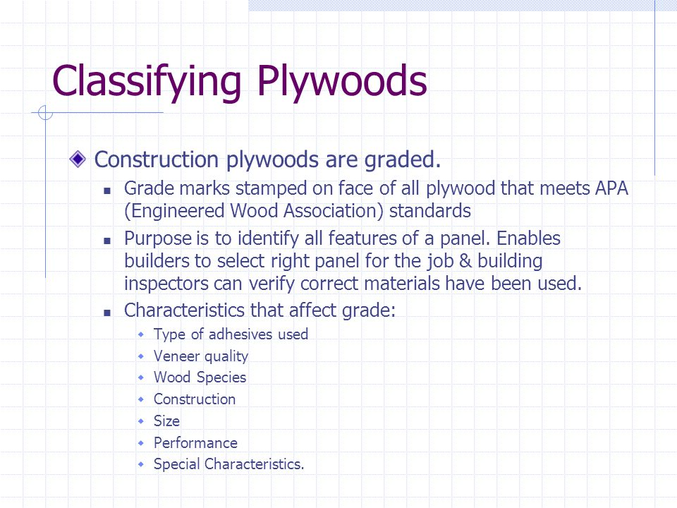 Classifying Plywoods Construction plywoods are graded.