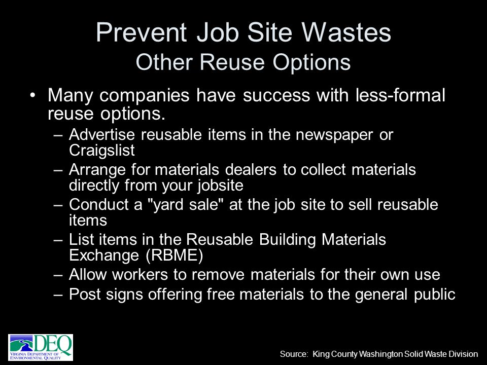 Prevent Job Site Wastes Other Reuse Options