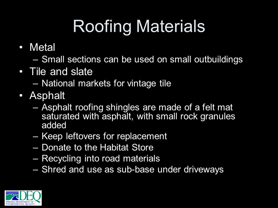 Roofing Materials Metal Tile and slate Asphalt