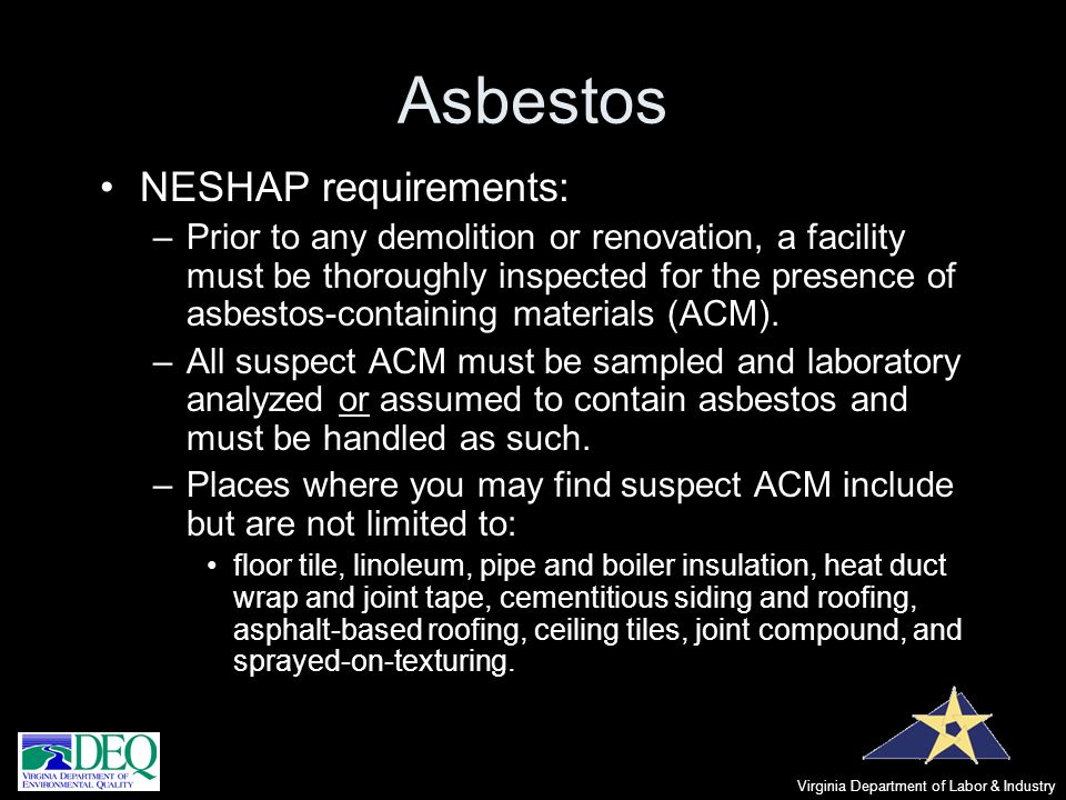 Asbestos NESHAP requirements: