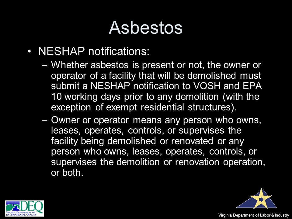Asbestos NESHAP notifications: