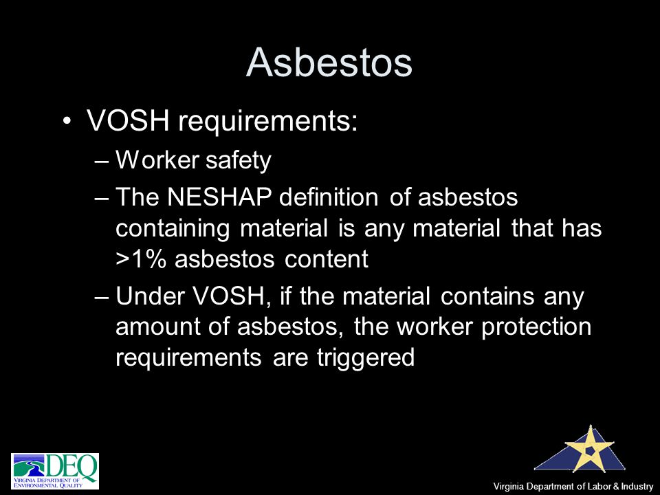 Asbestos VOSH requirements: Worker safety