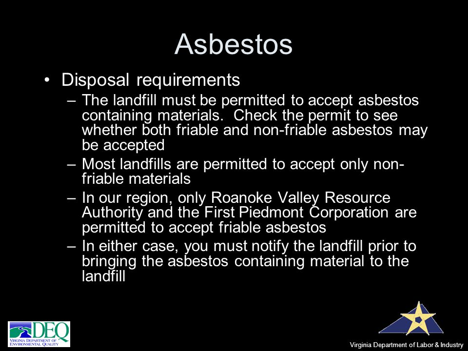 Asbestos Disposal requirements