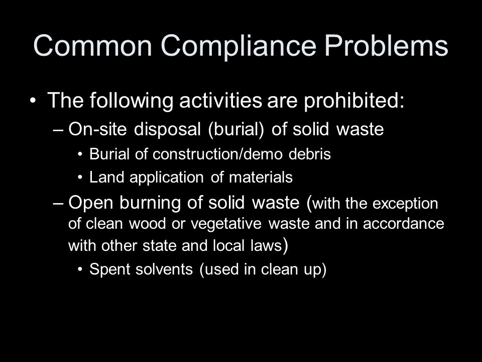Common Compliance Problems