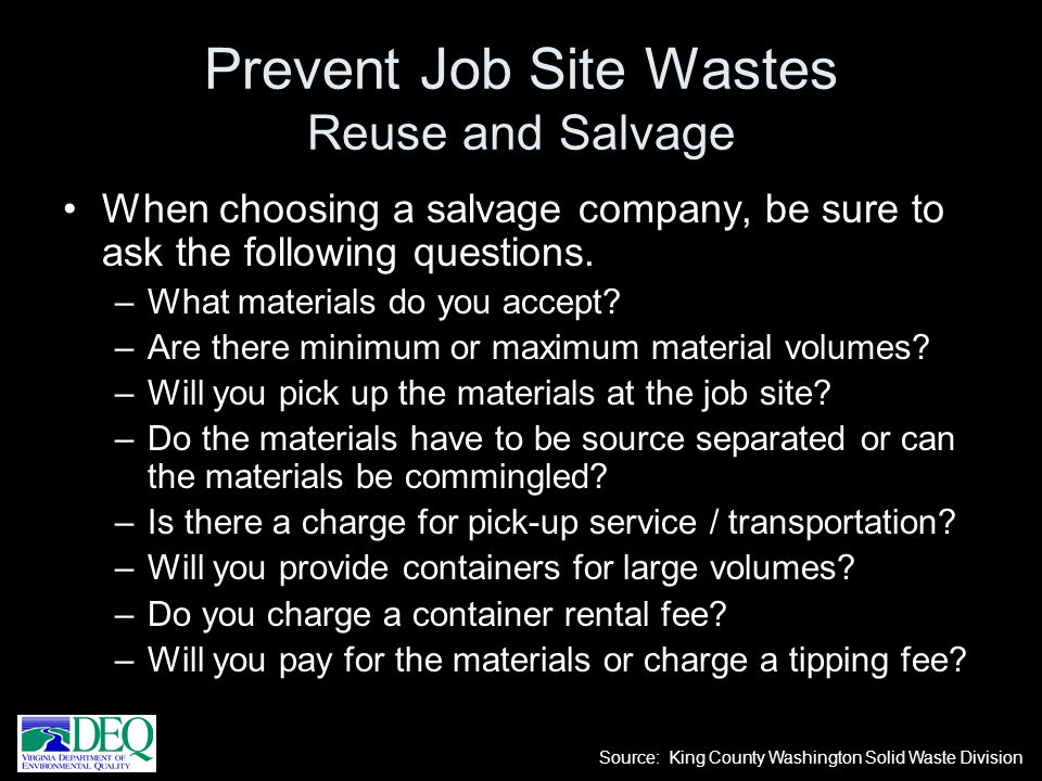 Prevent Job Site Wastes Reuse and Salvage