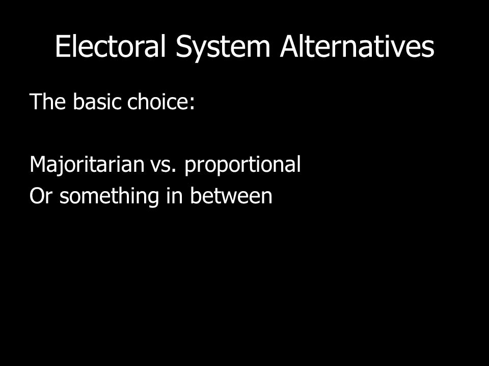 Electoral System Alternatives