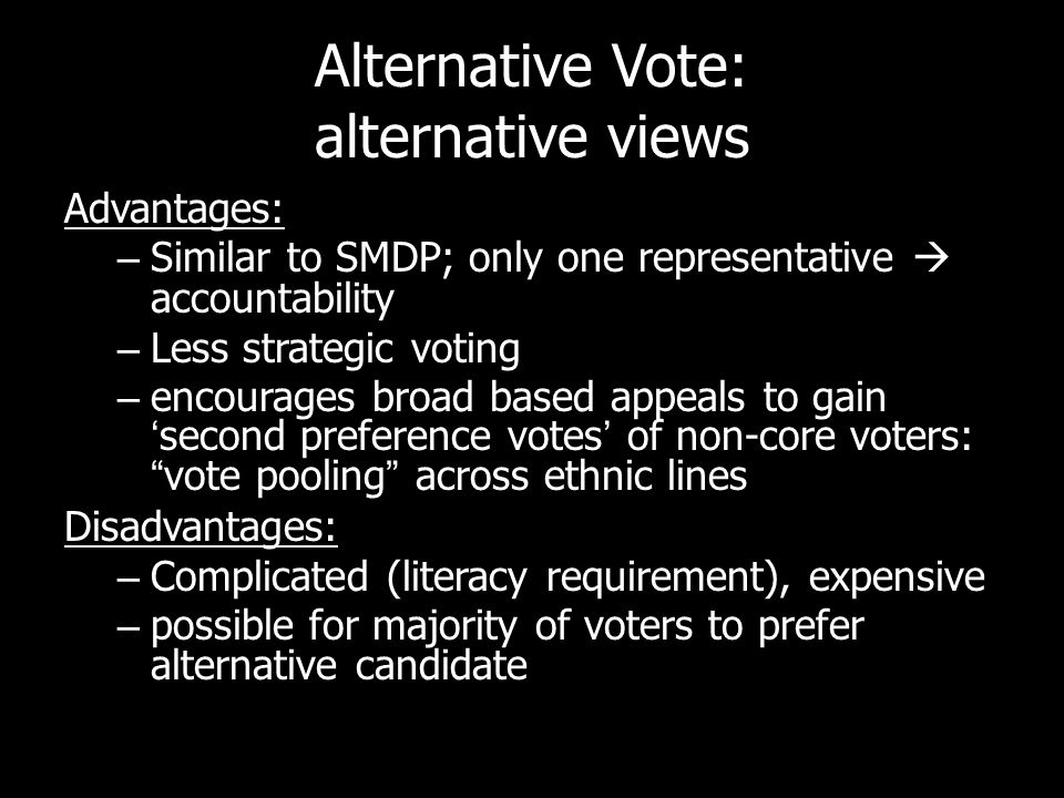Alternative Vote: alternative views