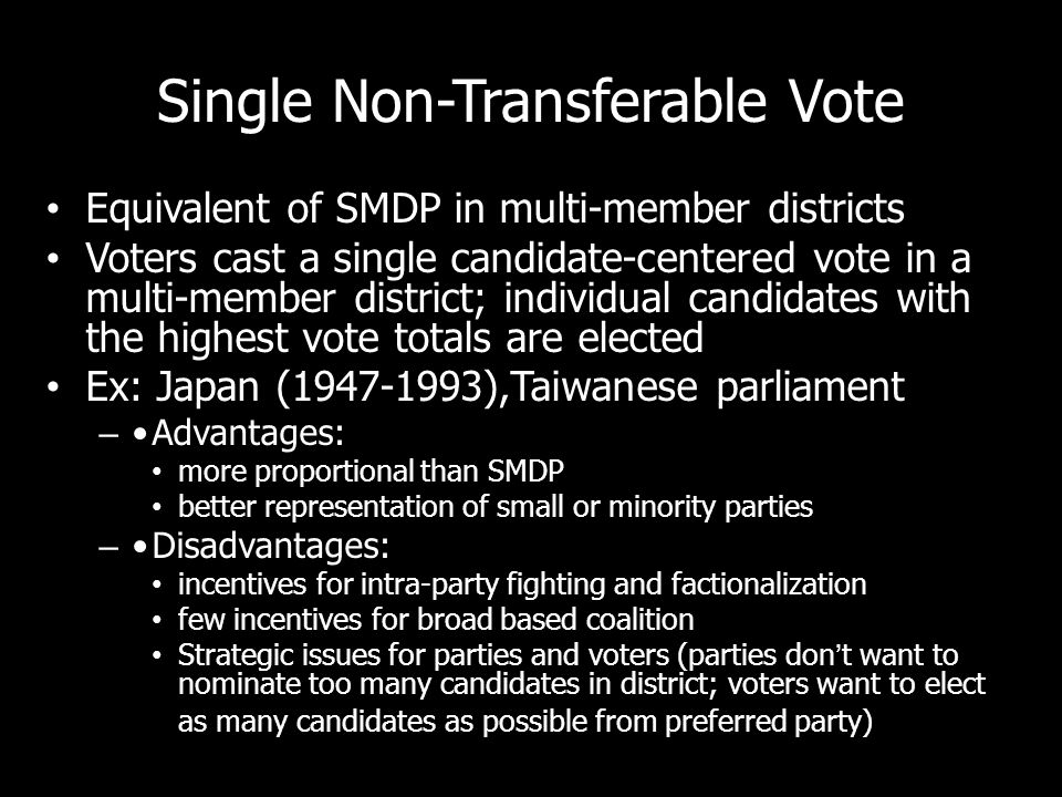 Single Non-Transferable Vote