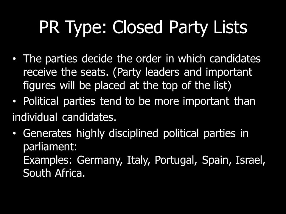 PR Type: Closed Party Lists