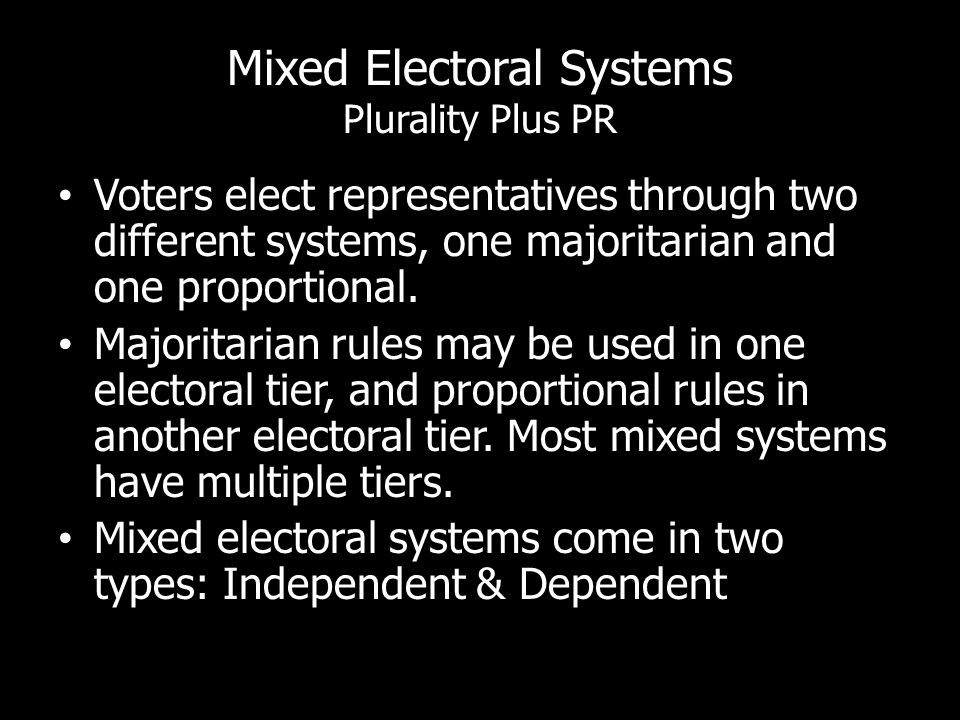 Mixed Electoral Systems Plurality Plus PR