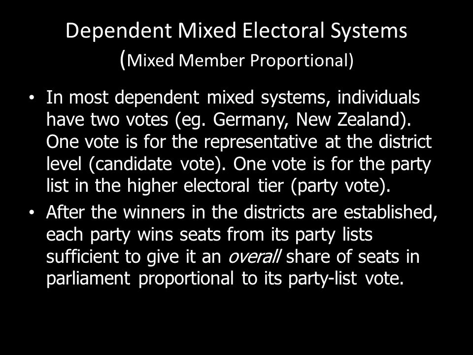 Dependent Mixed Electoral Systems (Mixed Member Proportional)