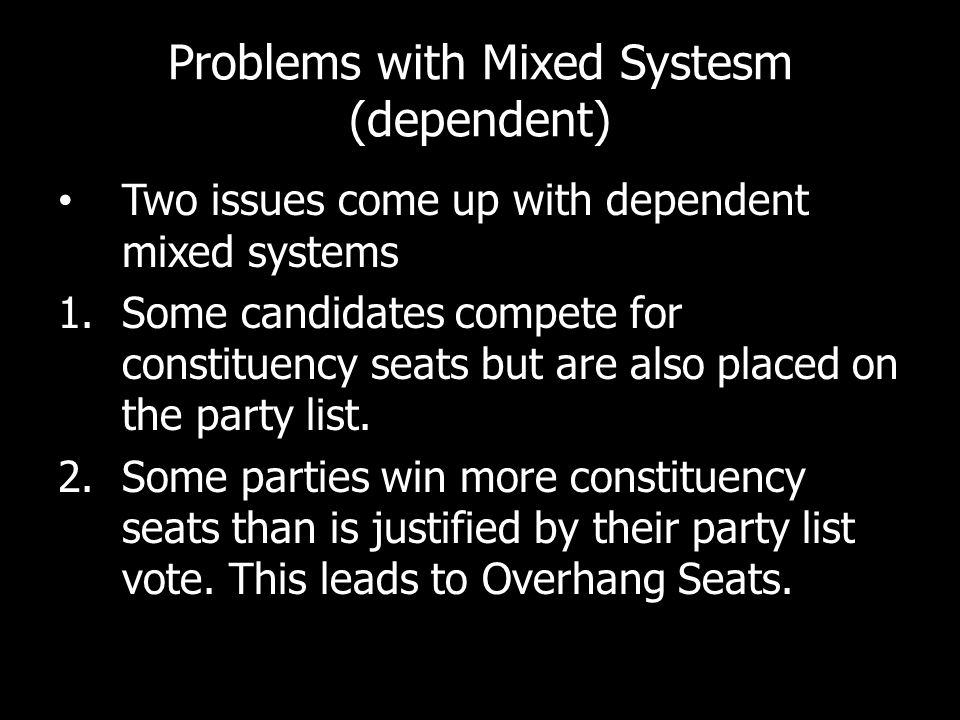 Problems with Mixed Systesm (dependent)