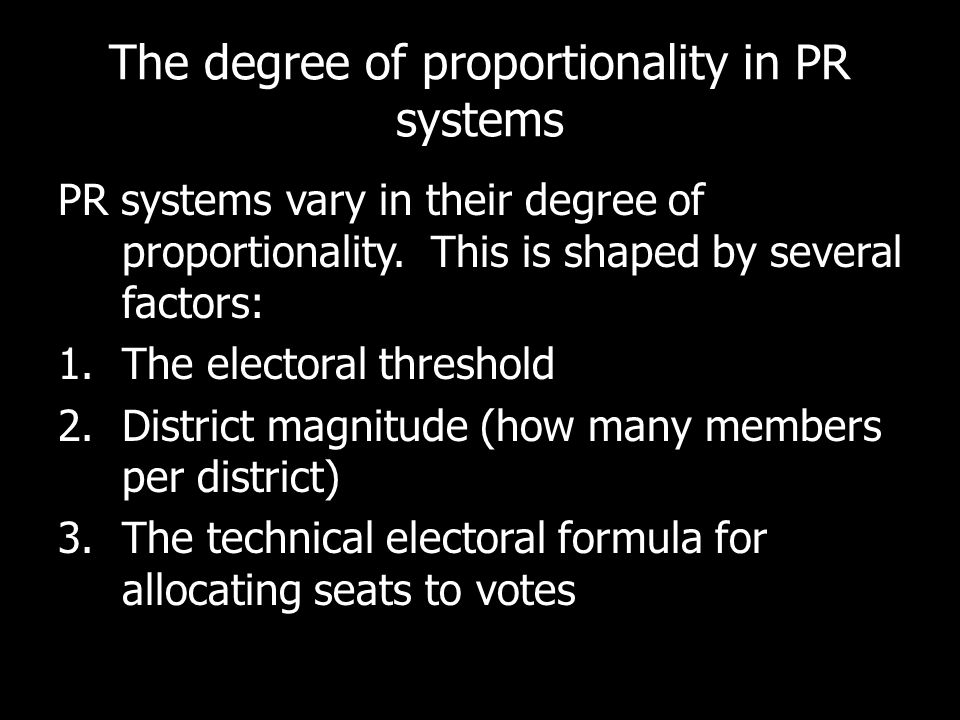 The degree of proportionality in PR systems