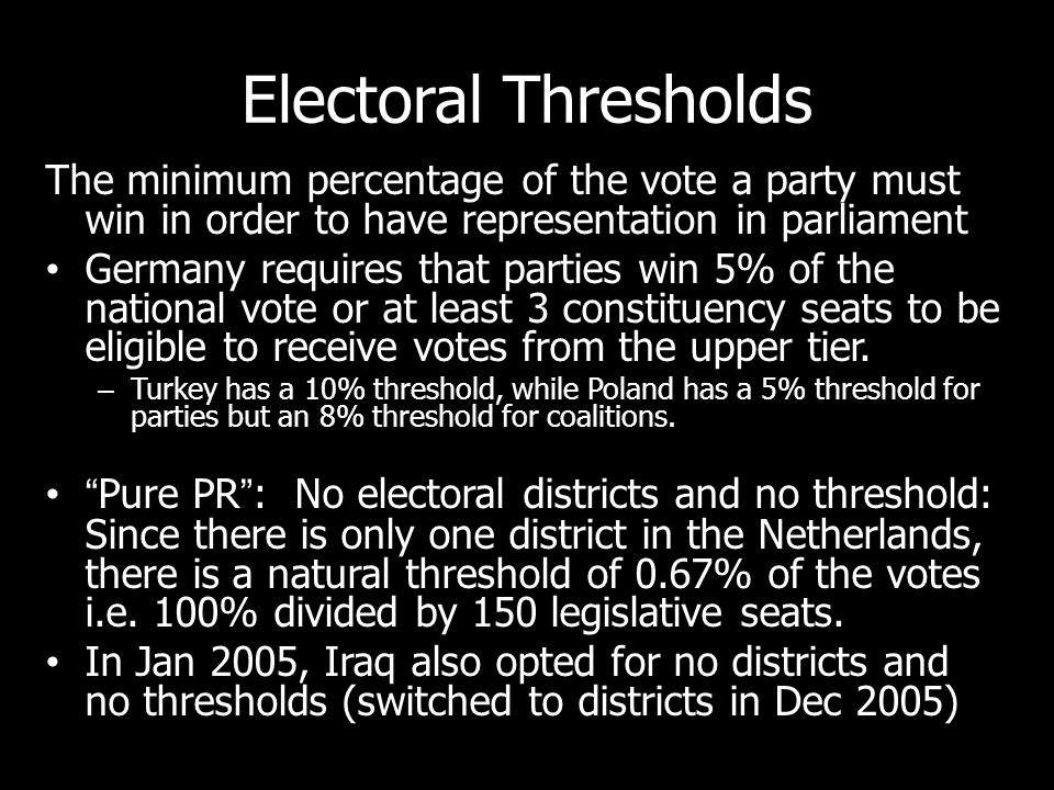 Electoral Thresholds The minimum percentage of the vote a party must win in order to have representation in parliament.