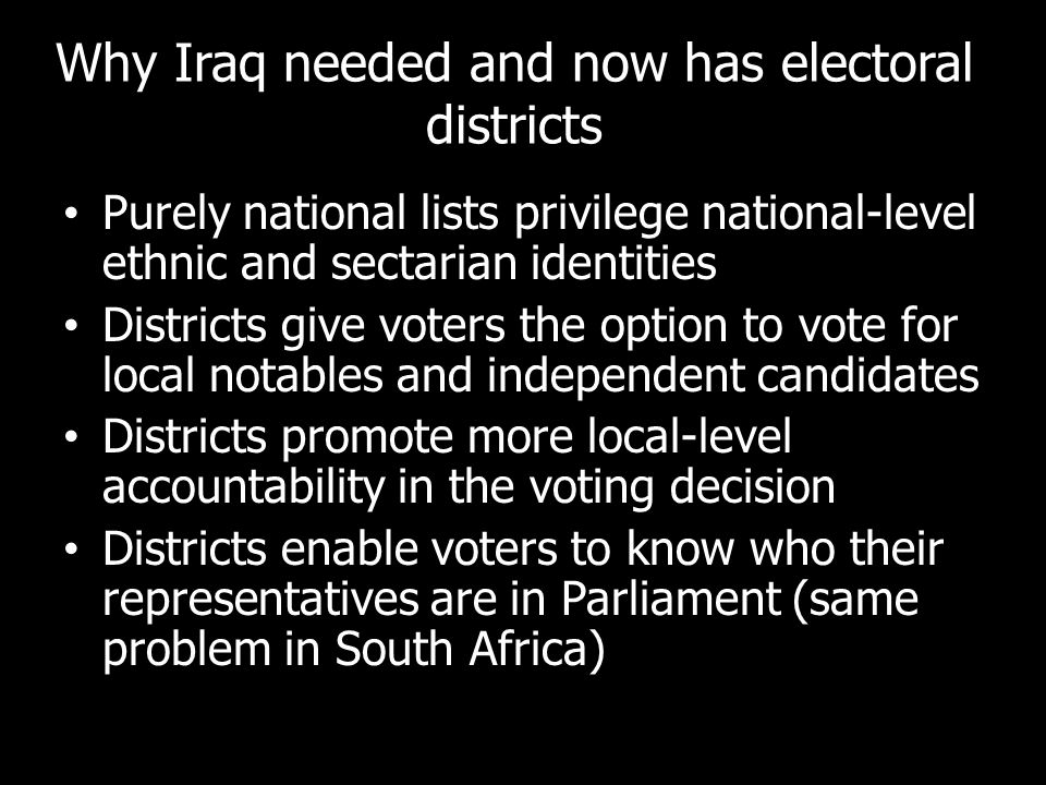 Why Iraq needed and now has electoral districts