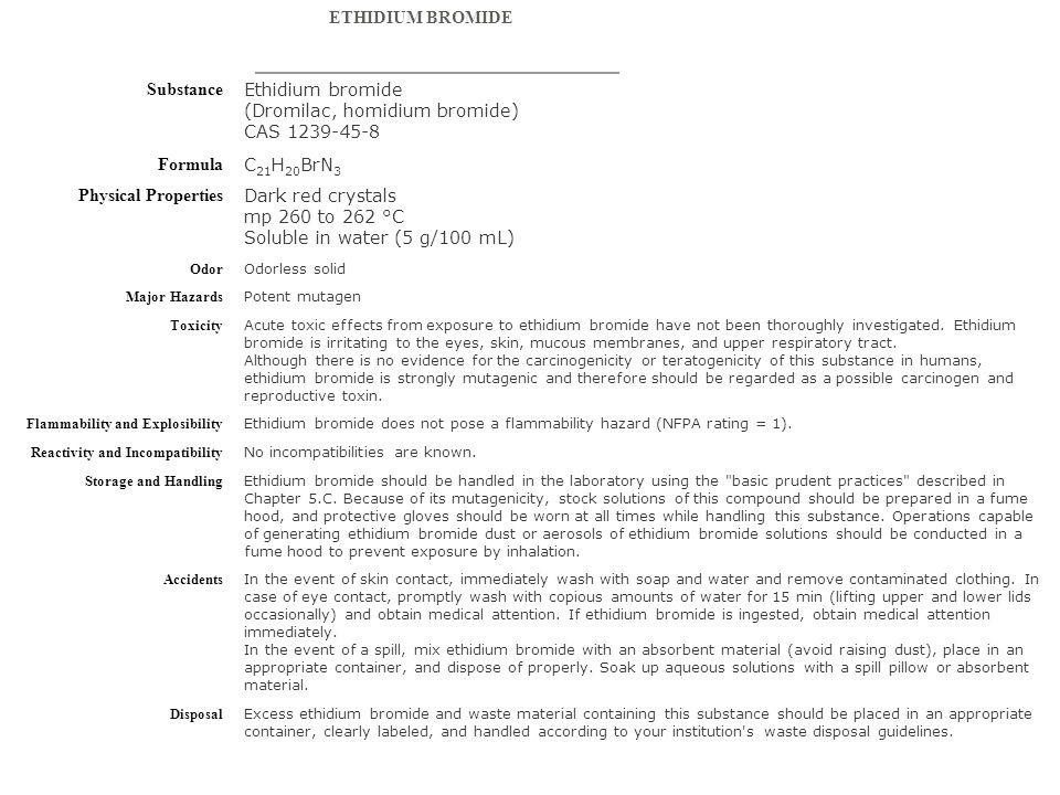 Ethidium bromide (Dromilac, homidium bromide) CAS 1239-45-8