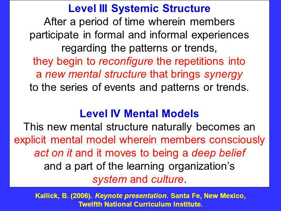 Level III Systemic Structure