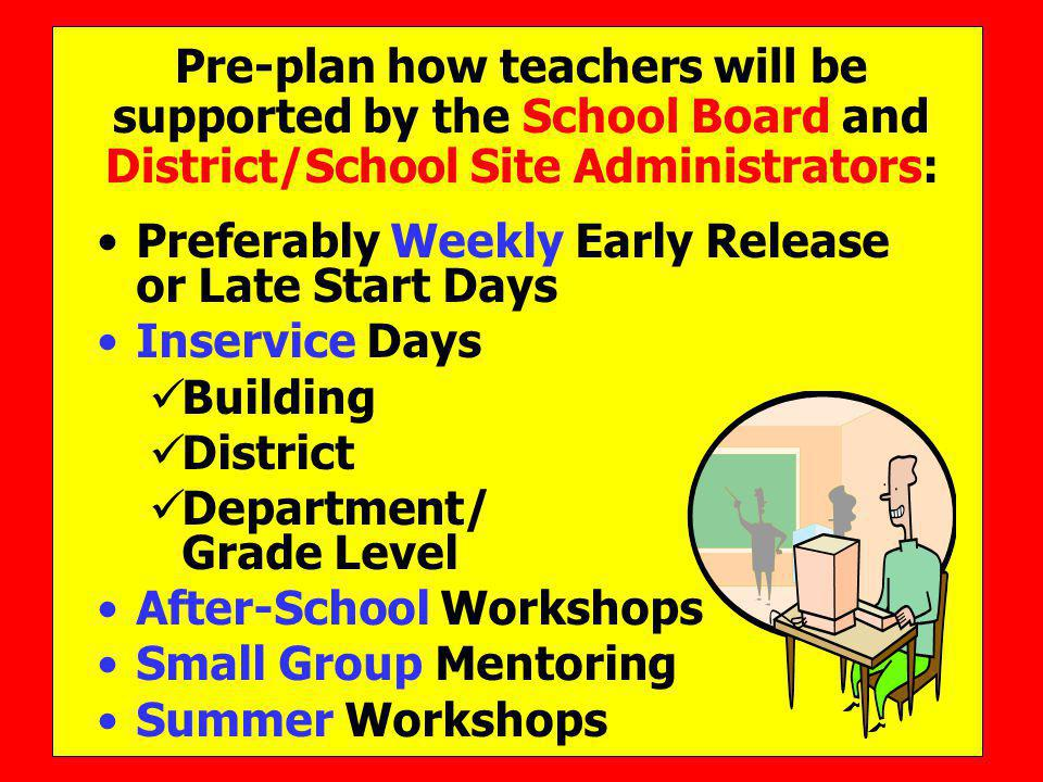 Pre-plan how teachers will be supported by the School Board and District/School Site Administrators: