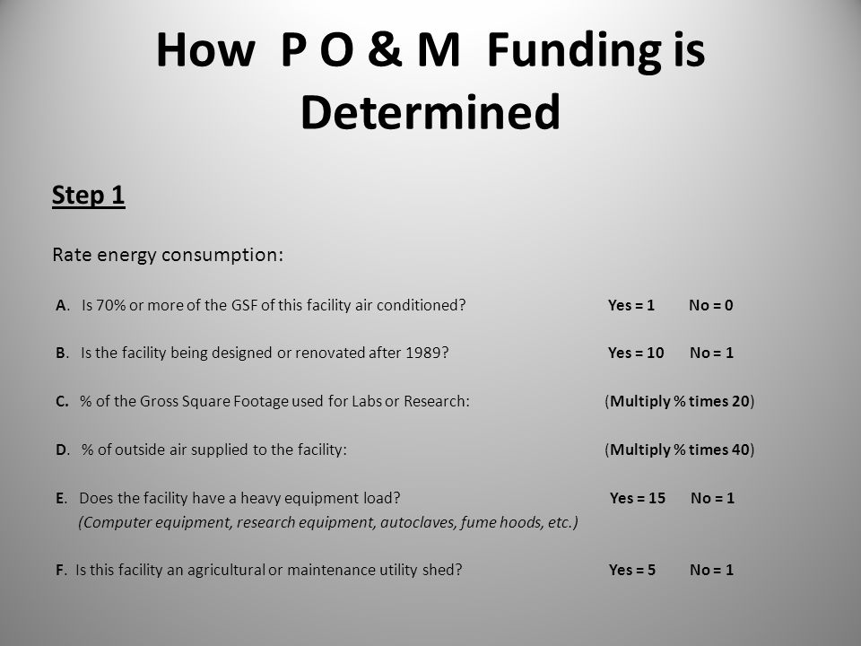 How P O & M Funding is Determined