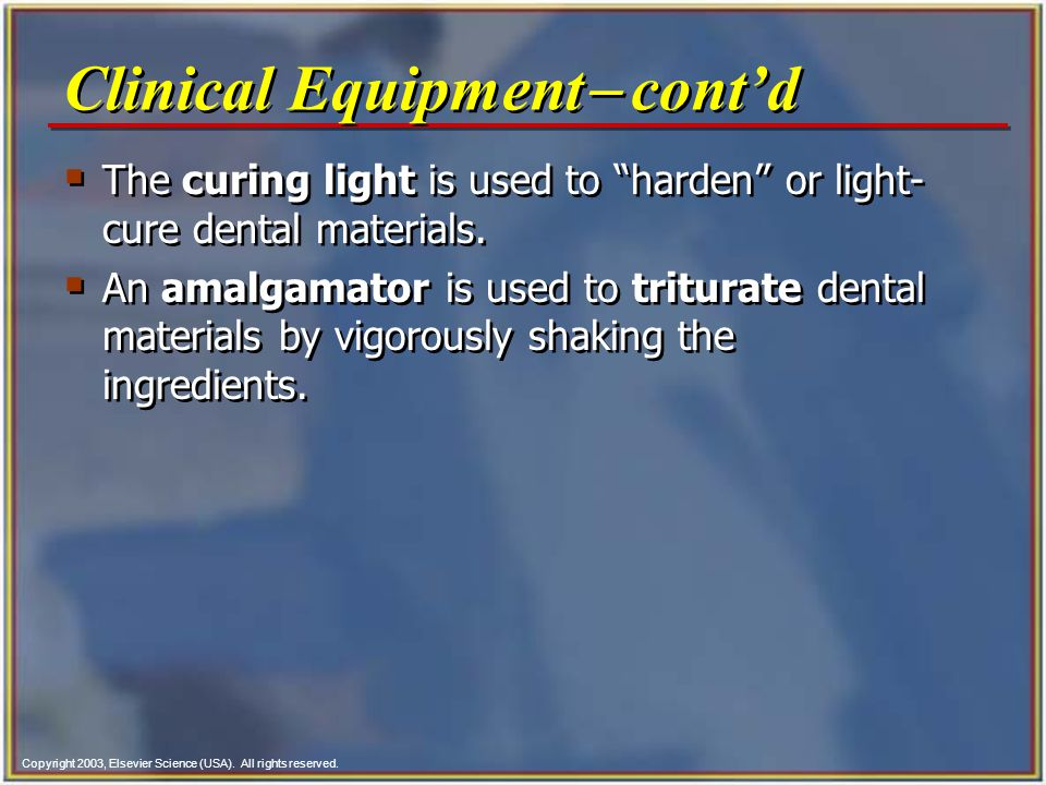Clinical Equipment- cont'd