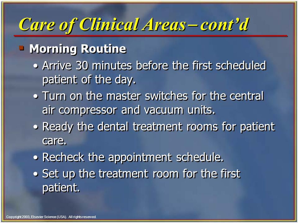 Care of Clinical Areas- cont'd