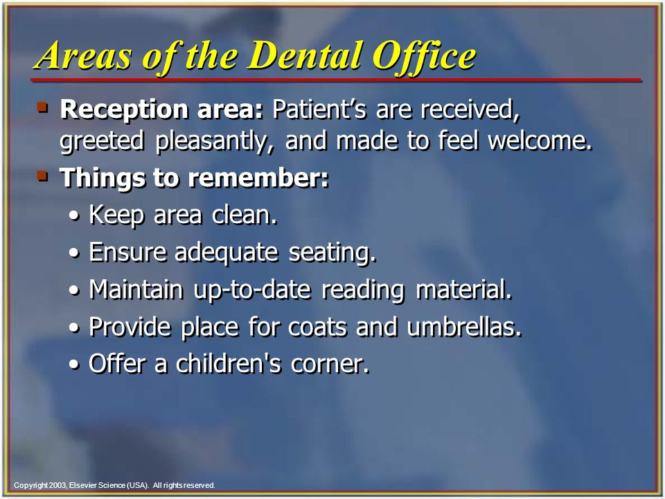 Areas of the Dental Office