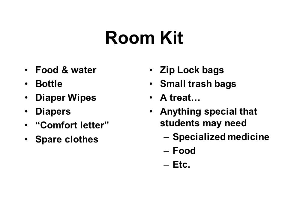 Room Kit Food & water Bottle Diaper Wipes Diapers Comfort letter