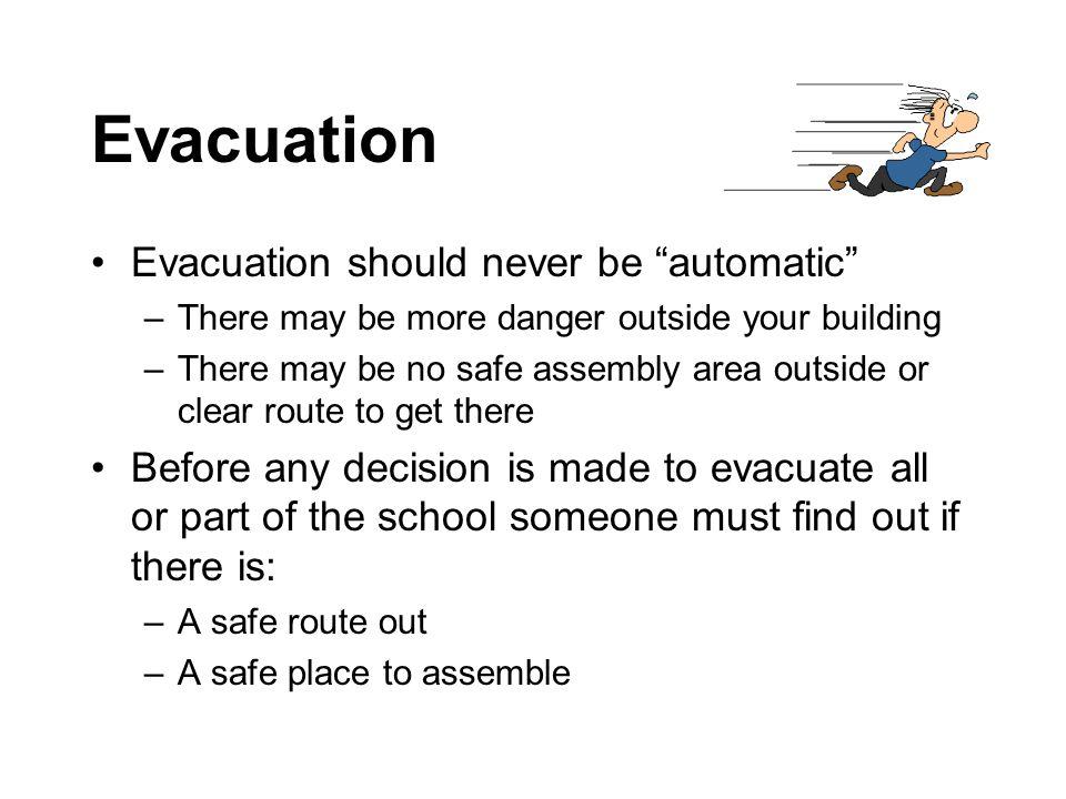 Evacuation Evacuation should never be automatic