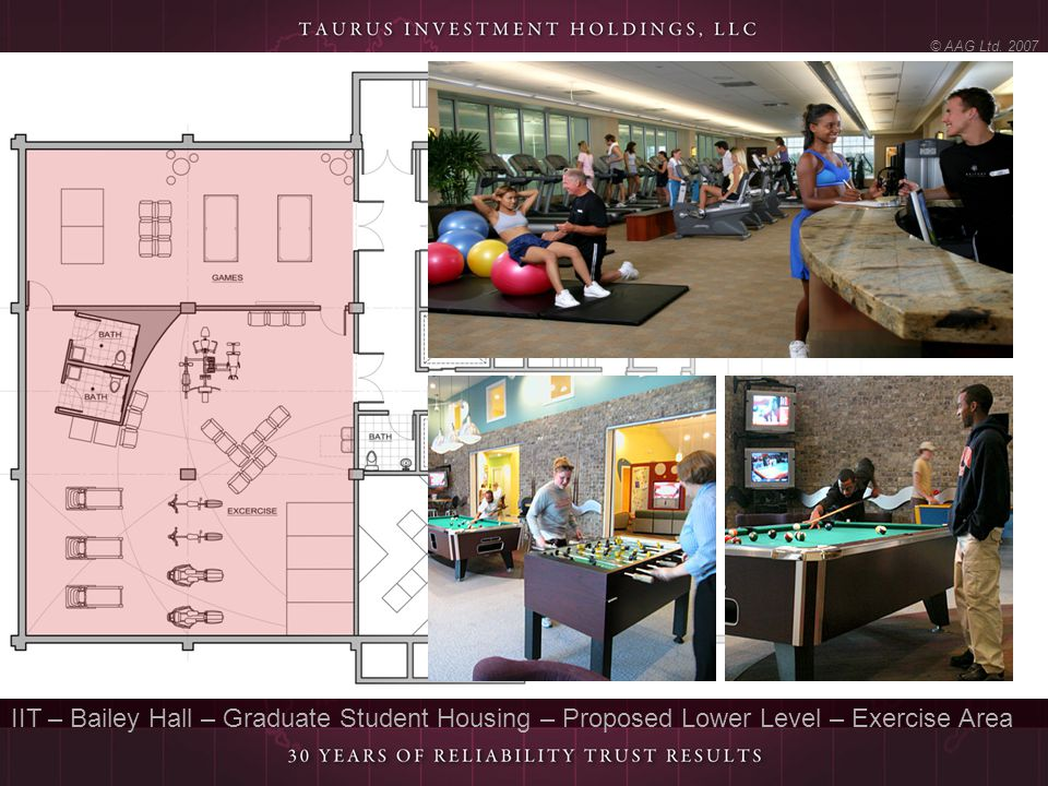 © AAG Ltd. 2007 IIT – Bailey Hall – Graduate Student Housing – Proposed Lower Level – Exercise Area