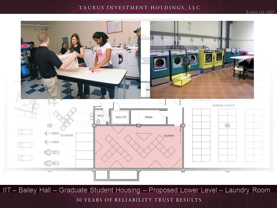 © AAG Ltd. 2007 IIT – Bailey Hall – Graduate Student Housing – Proposed Lower Level – Laundry Room