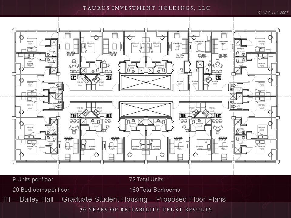 IIT – Bailey Hall – Graduate Student Housing – Proposed Floor Plans