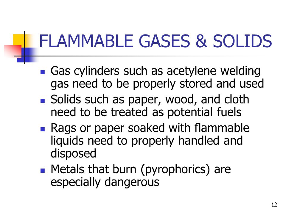 FLAMMABLE GASES & SOLIDS