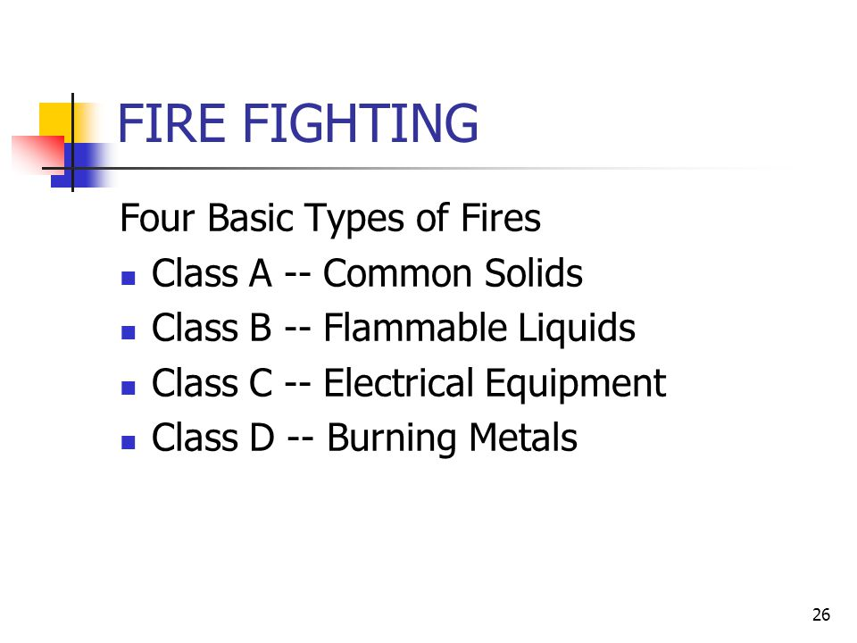 FIRE FIGHTING Four Basic Types of Fires Class A -- Common Solids